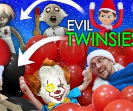 GRANNY & PENNYWISE TWINSIES w/ ELF ON THE SHELF Buddy (FV Family Creepy Christmas)